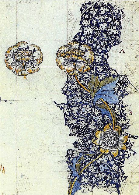 william morris 'kennet' textile design produced by morris & co in 1883.
