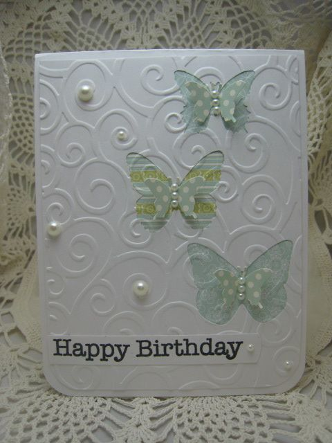 Butterflies and embossing birthday card