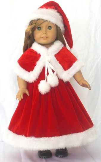 "Red Christmas Santa Hat /& Scarf fits 18/"" American Girl Size Doll"