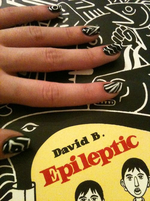 Epileptic book cover nail art