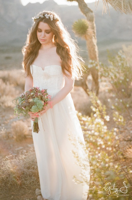 Wedding Dress- Strapless  Bustier Chiffon and Lace Bohemian Sample Sale. $550.00, via Etsy.