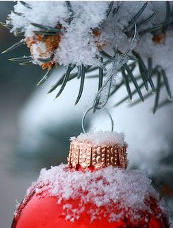 #Red #Christmas #Ornament with #Snow
