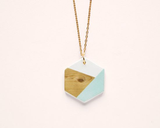 Hexagon N5 Geometric Ceramic necklace by depeapa
