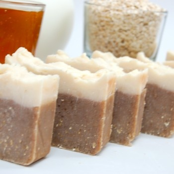 Handmade Oatmeal Milk & Honey Coconut Milk Soap, with crushed oatmeal