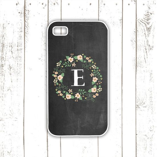 $18 iPhone Case - Chalkboard iPhone Case with Floral Wreath - Pink Flower iPhone Cover with Monogram - iPhone 4, iPhone 4S, iPhone 5, iPhone 5s