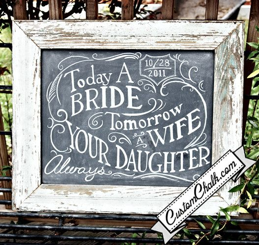 Wedding chalkboard gift for mother of the bride, love this!
