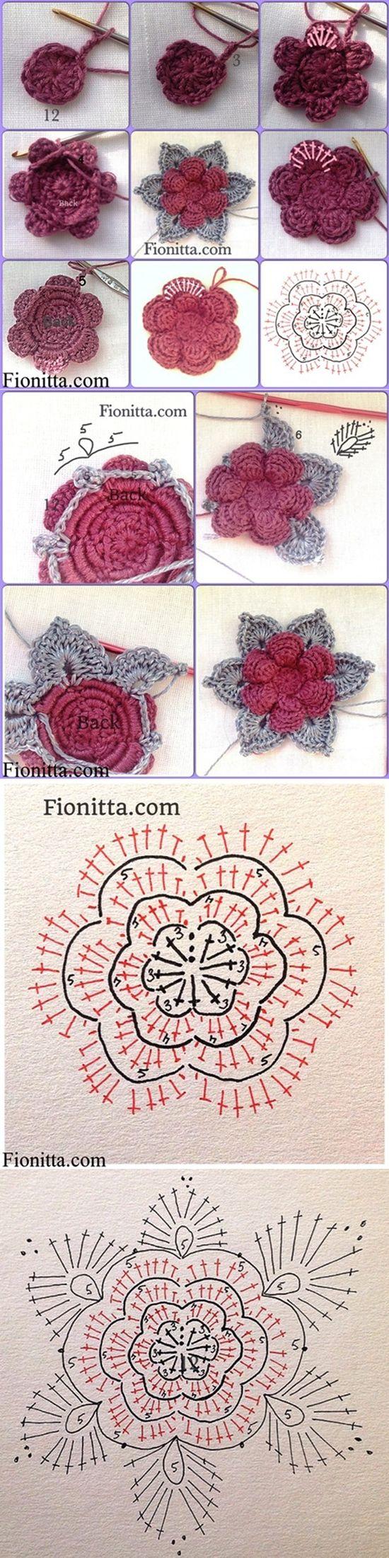 DIY 3D Crochet Rose