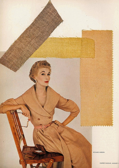 Warm, timeless dessert sand inspired hues from 1952. #vintage #1950s #fashion #dress