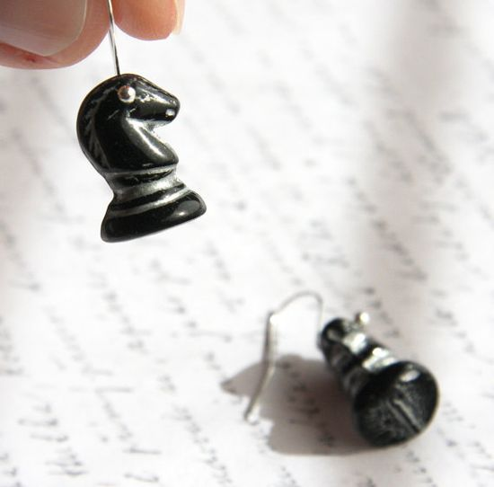 Black and Silver Chess Horse Earrings  Sterling by KapKaDesign, $24.00
