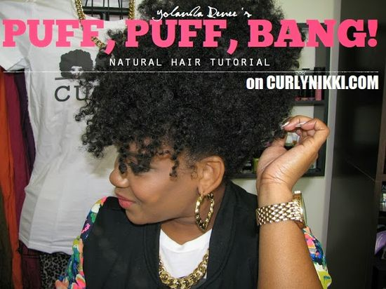 Natural Hair Style- Puff & Bangs!
