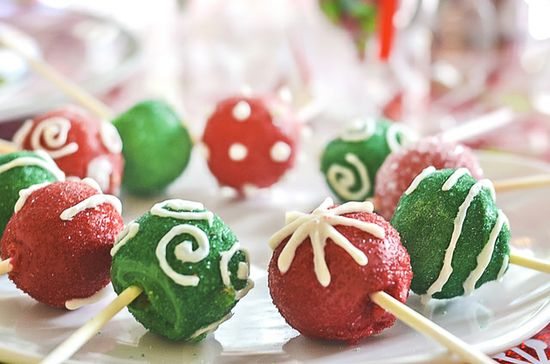Ornament cake pops at a Christmas party!  See more party ideas at CatchMyParty.com!  #christmas #partyideasChristmas party!