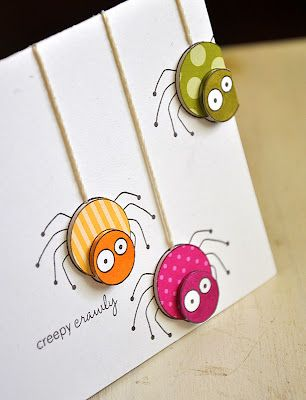 Even I would be willing to let this cute spider creep onto my card if it was in these three great colors (raspberry fizz, summer sunrise and simply chartreuse).  Stamp 3 times and use pop dots to add dimension on this handmade Halloween card.
