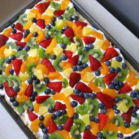 Fruit Pizza (Sugar Cookie Dough, Cream Cheese, Sugar, Vanilla, Cool Whip, and Assorted Fresh Fruit)
