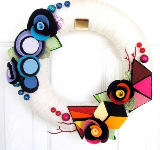 Geometric Garden  The Original Felt Yarn Wreath by KnockKnocking, $60.00
