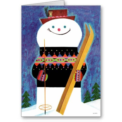 Skis for Snowman Greeting Cards