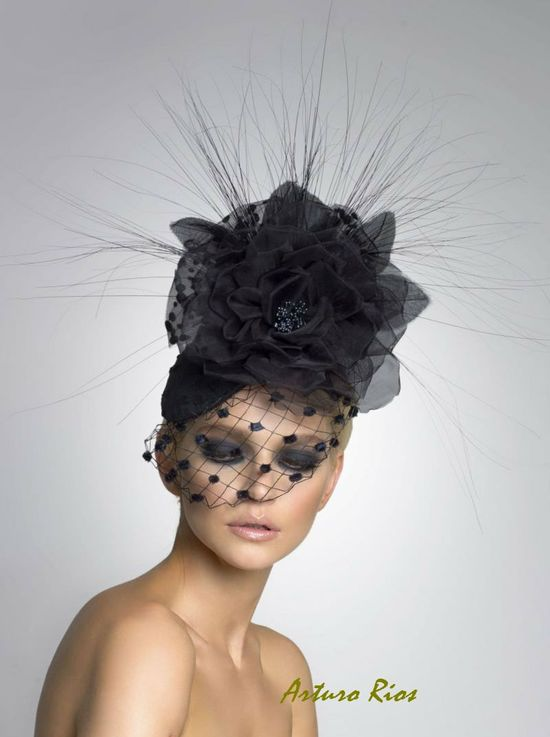 Couture Fascinator-- fashion headpiece- Cocktail hat. $198.00, via Etsy.