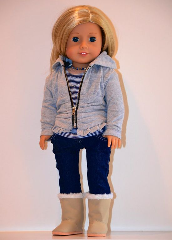 18 inch, American Girl Doll Clothing. Complete Active Wear Ensemble. Jeans, Ruched Hoodie, Knit top, purse, necklace and boots. Complete by Simply18Inches, 75.00 dollars