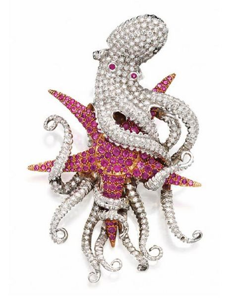 DIAMOND AND RUBY OCTOPUS BROOCH