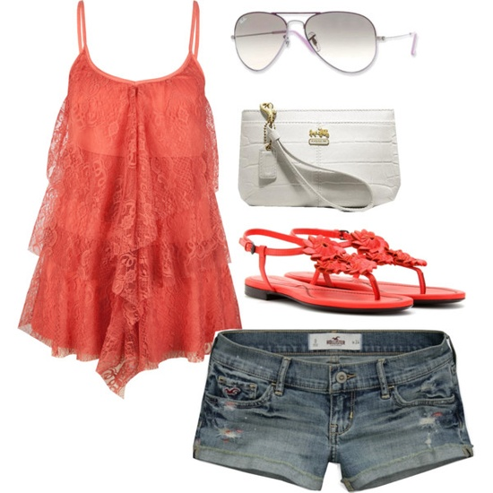 Coral top- love it