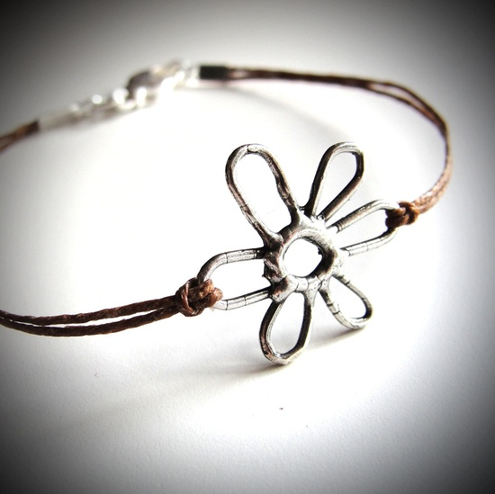 Perfect for summer! Sterling May Flower bracelet on linen - choose your color! $22 from JewelryByMaeBee on Etsy.