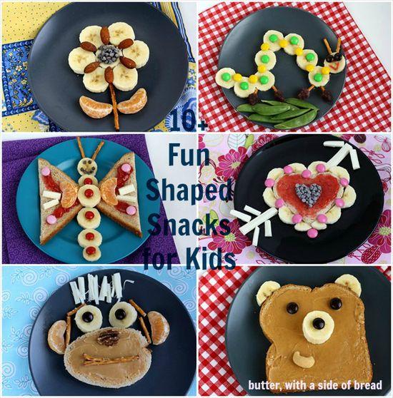10+ Fun shaped snacks for kids that use fruits & veggies! CUTE!