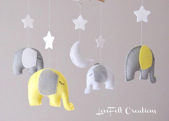 Elephant Mobile - Baby Mobile  - Neutral Mobile - Yellow and Gray Baby Mobile - You can pick your colors :). $88.00, via Etsy.