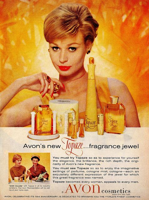 Avon's Topaze fragrance-I love the gold coloring in this advertisement.