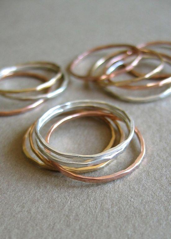 Slim Stacking Rings - Mixed Metals