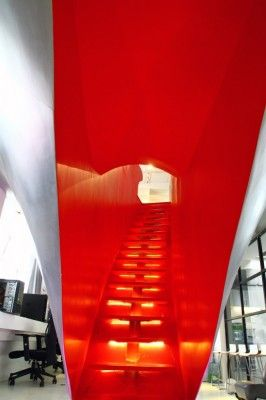 red stairs in china