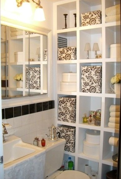 Small Bathroom Ideas--love all the storage and the black and white