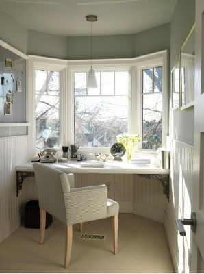 Great idea for this corner dens/libraries/offices - blue ivory gray chair white floating desk wainscoting beadboard pendant lighting blue gray walls paint color office