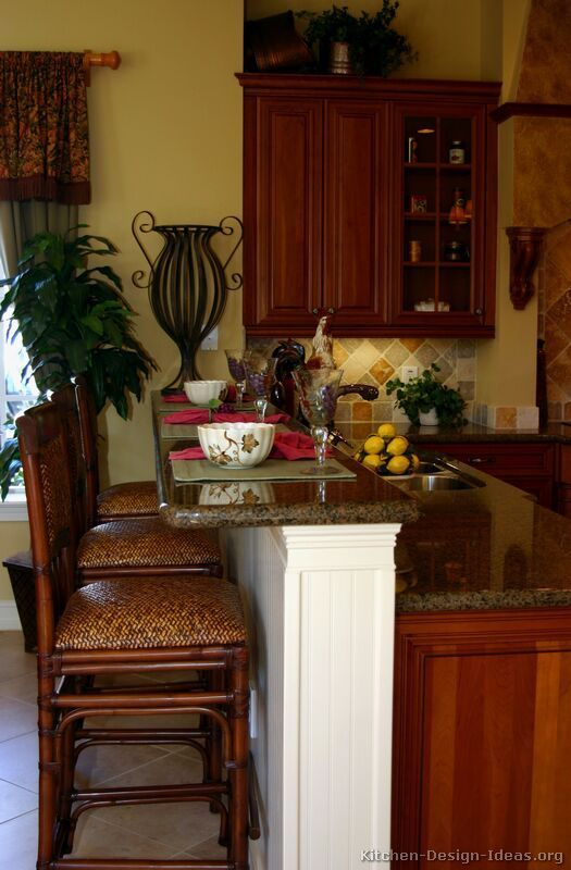 Tuscan Kitchen Design #26 (Kitchen-Design-Id...) Loved color of the wall against dark cabinets, loved granite