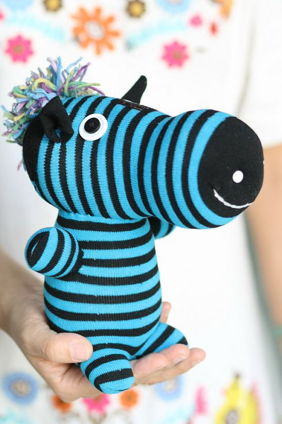 Handmade Sock Zebra Stuffed Animal Doll Baby Toys by hellykary, $13.90