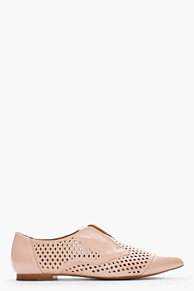 3.1 PHILLIP LIM Patent pink perforated Oxford Flat