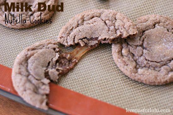 Milk Dud Nutella Cookies #desserts #chocolate