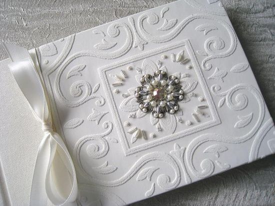 Ivory Wedding Guest Book Beaded Ivory Embossed Paper by Daisyblu, $65.00