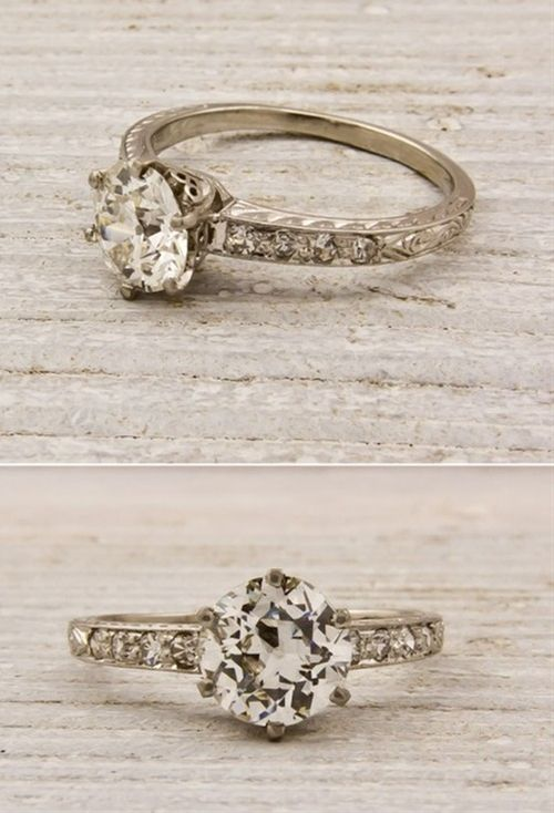 Vintage engagement/wedding ring with thin band. It reminds me of mine :3