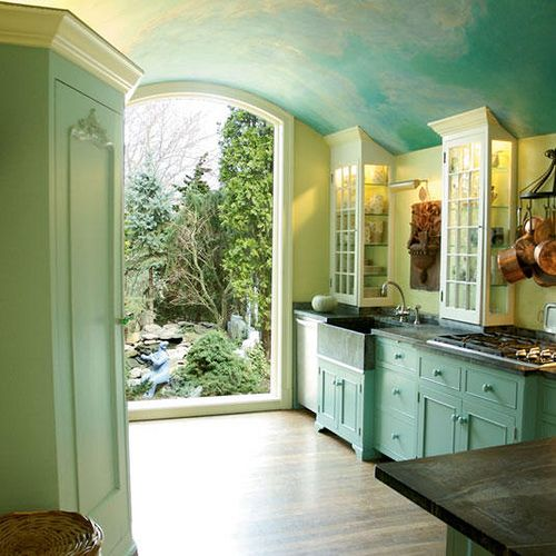 Beautiful sky blue kitchen + painted cabinets + soft green walls