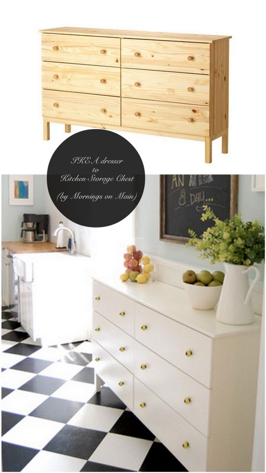 10  So Clever, Ridiculously Easy,  Chic & Stylish IKEA Hacks! -- use a dresser for additional kitchen/dining room storage