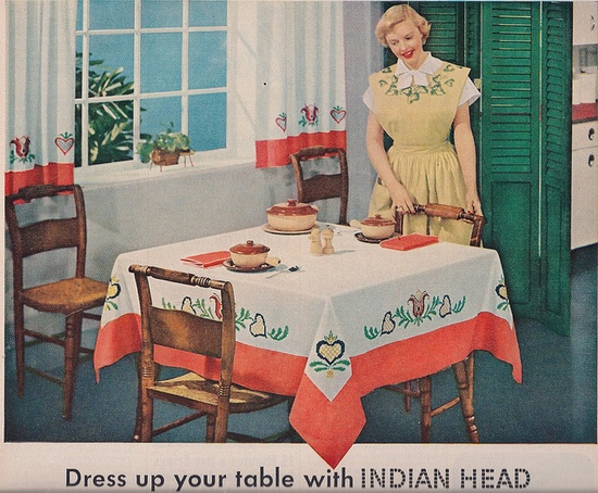 Love the folk art vibe of the charming tablecloth in this brightly hued 1949 living room. #vintage #1940s #living_room #table #home #house #decor #DIY #tablecloth