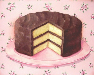 old fashioned chocolate frosted golden layer cake PRINT  by Everyday is a Holiday