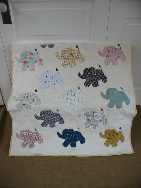 Vintage elephant baby blanket.
