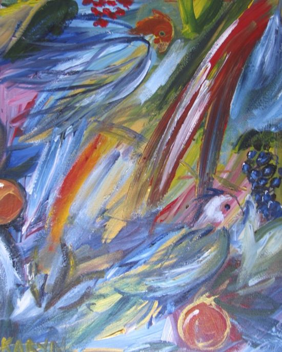 Birds of Paradise abstract impressionistic painting by Karyn Linnell