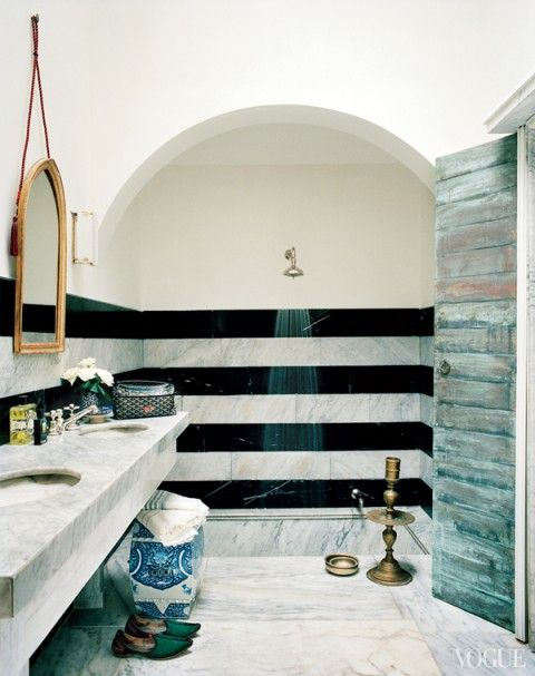 obsessed with this black and white striped shower