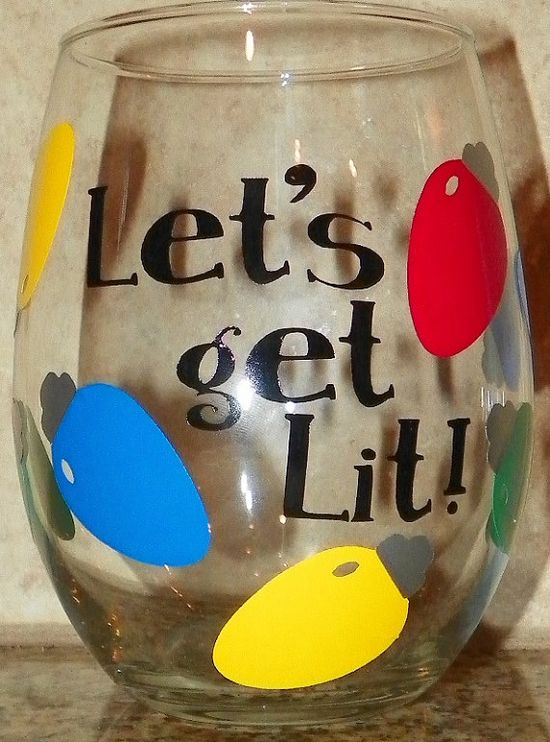 Let's Get Lit CHRISTMAS Stemless Wine Glass by TripleACreations, $10.00
