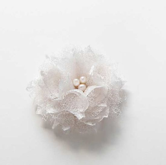 Lace Hair Accessories Bridal Hair Pieces Wedding Flower Hair Clips White Fabric Flowers by nurichant