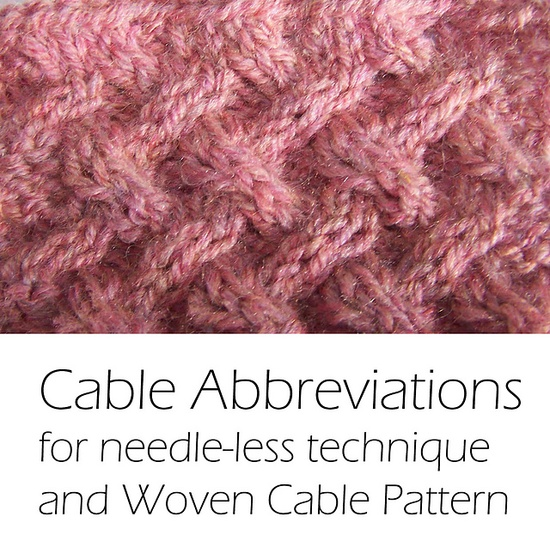 Crochet Patterns Abbreviations : Cable Abbreviations for needle-less technique with Woven Cable Stitch ...