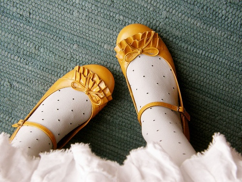 fancy mustard shoes #girl #patent_leather #yellow #polka_dots #ruffles