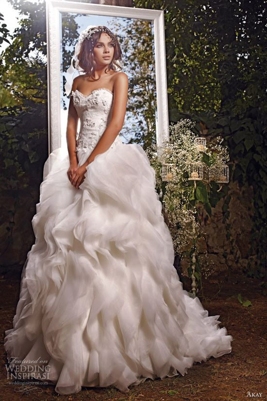 akay bridal 2013 strapless sweetheart gown ruffle flange skirt