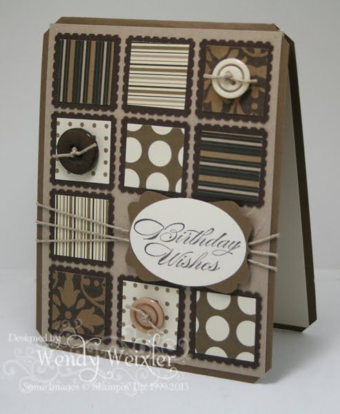 """Stamps: Bring on the Cake  Paper: Soft Suede, Crumb Cake, Early Espresso, Very Vanilla, Mocha Morning DSP  Ink: Early Espresso  Accessories: Pretty Postage Punch, Wide Oval Punch, 1"""" Square Punch, Decorative Label Punch, Tag Corner Punch, Linen Thread, Neutrals Buttons"""